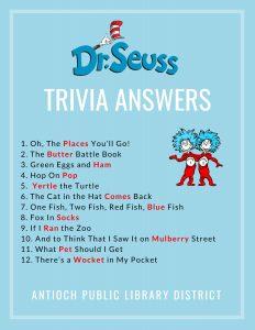 Dr. Seuss Trivia Answers